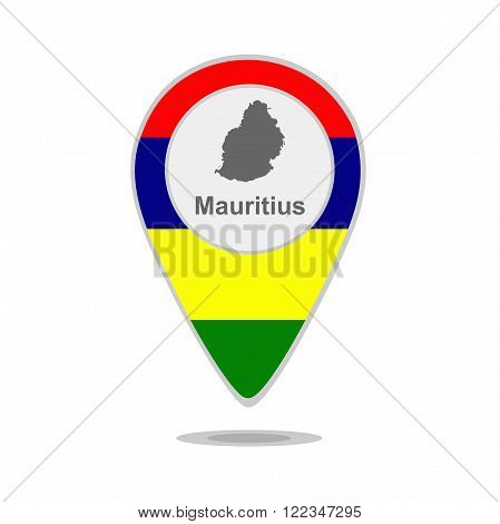 A pointer with map and flag of Mauritius