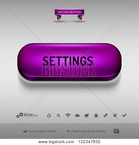 Purple Button For Webdesign Or App. Vector Design Elements.