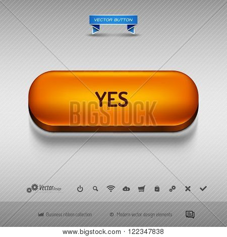 Orange Button For Webdesign Or App. Vector Design Elements.