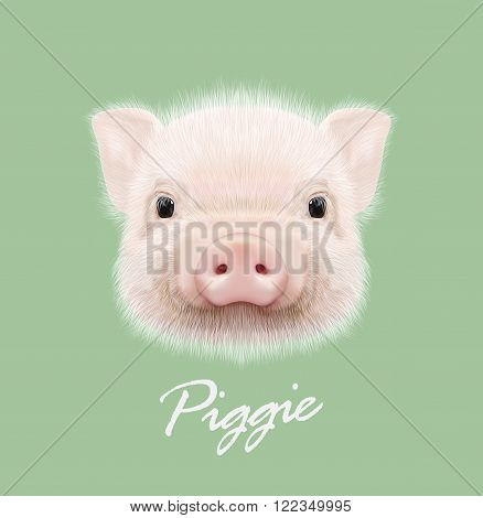 Cute head of little Piggy on green background.