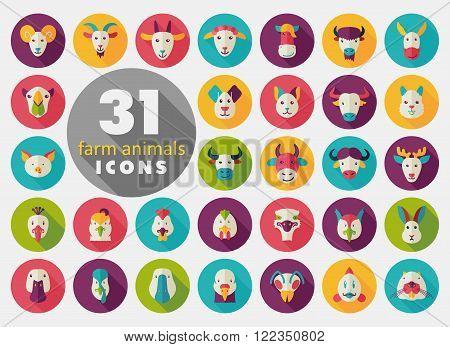 Set of farm animals flat icons. Vector head illustration. eps 10