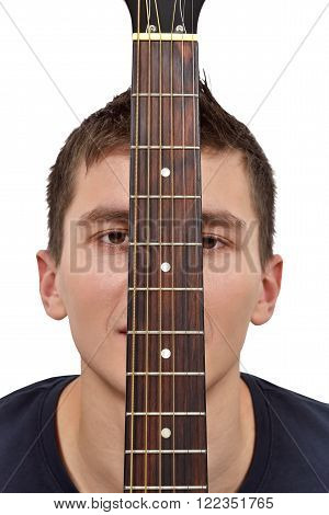 Guitarist And Guitar Fretboard