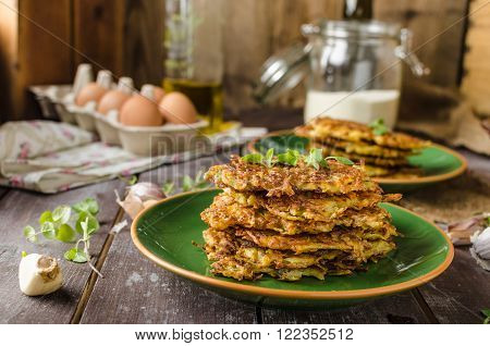 Potato pancakes with garlic and herbs delicious czech beer