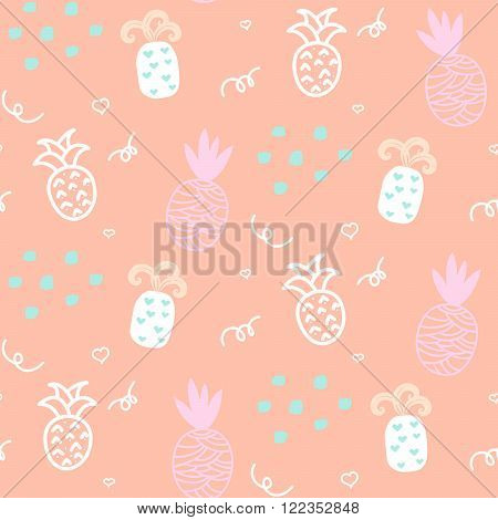 Baby pattern pastel pineapple seamless design. Nursery kid background for bed linen and apparel. Ananas white and pink fun pattern.