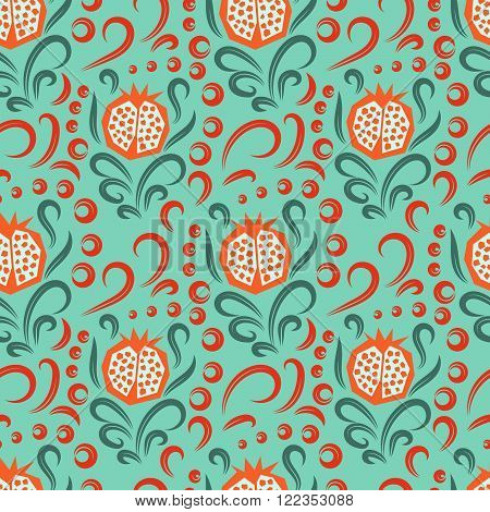 Pomegranate pattern. Seamless garnet fruit with floral swirls vector green and orange ornament.