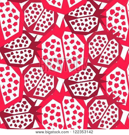 Pomegranate pattern. Seamless garnet fruit floral vector ornament. Large pink fruit on white background.