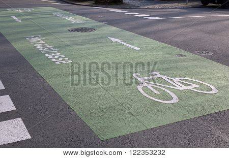 Marking on asphalt for the first bicycle road in Darmstadt (Hesse, Germany)