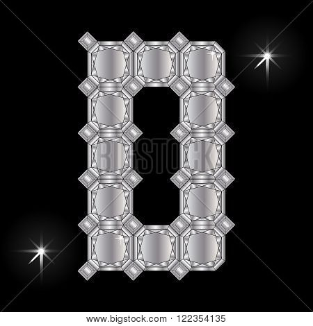 Metal letter D. Faceting gemstone. Geometric polygonal shapes
