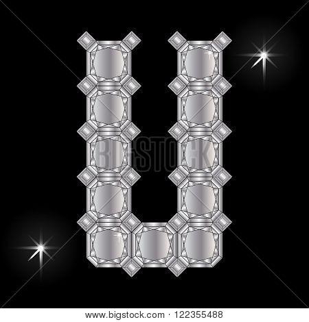 Metal letter U. Faceting gemstone. Geometric polygonal shapes
