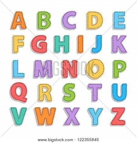 Vector abstract needled alphabet.Alphabet needled seams.Vector alphabet with seam.Alphabet isolated on white.Vector Alphabet needled seams.Color Alphabet.Vector font isolated .Vector Type.Hand drawn