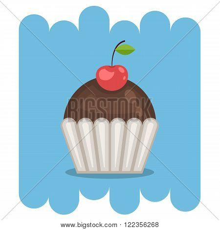 Cartoon Dessert.Chocolate cupcake icon with cherry.Chocolate muffin vector .Chocolate muffin isolated on blue background.Chocolate cupcake dessert. Vector Chocolate sweet.Chocolate sweet food.