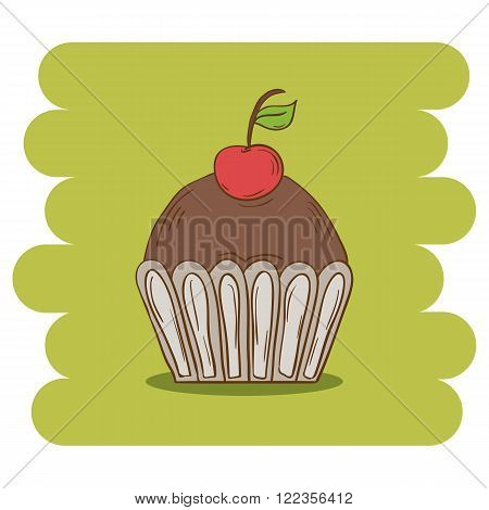 Dessert.Chocolate muffin icon with cherry.Chocolate cupcake vector .Chocolate muffin isolated on green background.Chocolate cupcake dessert. Vector Chocolate sweet.Chocolate sweet food.Hand draw