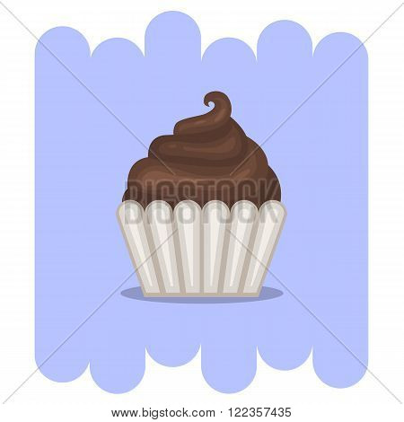 Cartoon Muffin.Cartoon Chocolate muffin icon .Chocolate cupcake vector.Chocolate muffin isolated on  background with shadow.Chocolate cupcake dessert. Vector Chocolate sweet.Chocolate food.