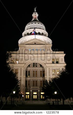 State Capitol Building At Night In Downtown Austin, Texas