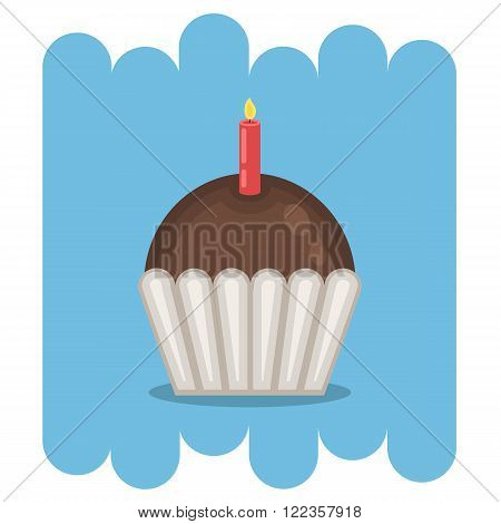 Dessert.Chocolate muffin icon with candle.Chocolate sweets vector .Chocolate muffin isolated on blue background.Chocolate cupcake dessert. Vector Chocolate sweet.Chocolate sweet food