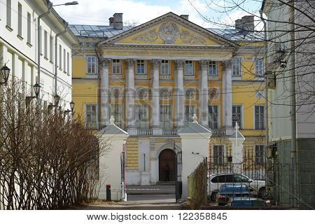 Moscow, Russia - March 14, 2016. Demidov city estate, Gorokhovsky lane, now the Institute of Geodesy and Cartography Engineers in Moscow, Russia