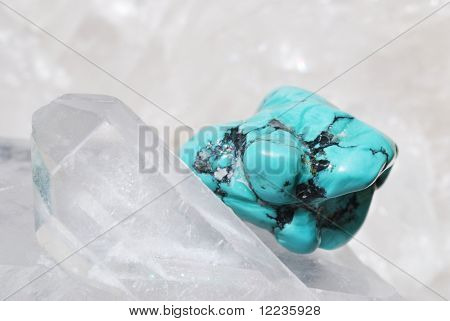 Turquoise Laid On Druze Of Quartz