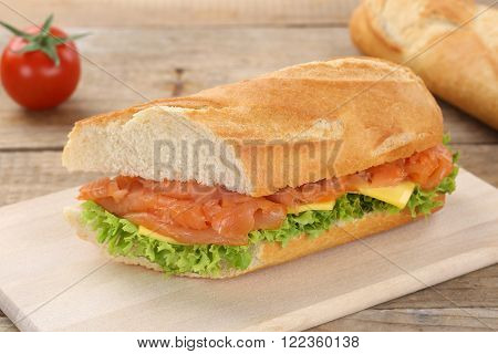 Sub Sandwich Baguette With Salmon Fish For Breakfast