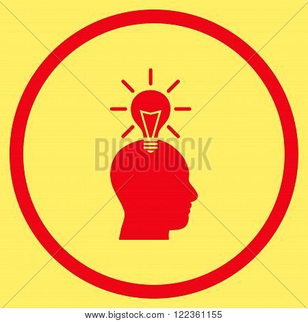 Genius Bulb vector icon. Image style is a flat icon symbol inside a circle, red color, yellow background.