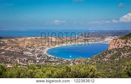 Aerial view on Kefalos village and coastline on Kos island Greece