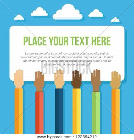 Vector illustration of hands with different skin colors holding large piece of paper. Unity peace and friendship concept with place for your text. Flat style.