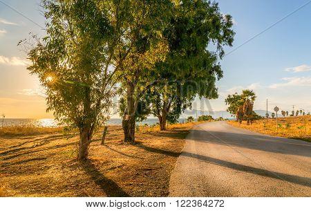 Greek coastline at sunrise on Mediterranean Kos island