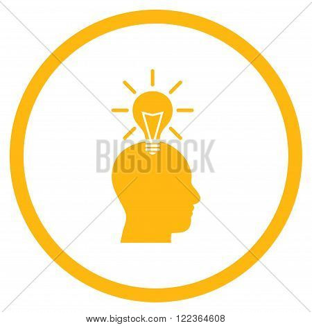 Genius Bulb vector icon. Image style is a flat icon symbol inside a circle, yellow color, white background.