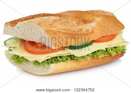 Sub Sandwich Baguette With Cheese For Breakfast Isolated