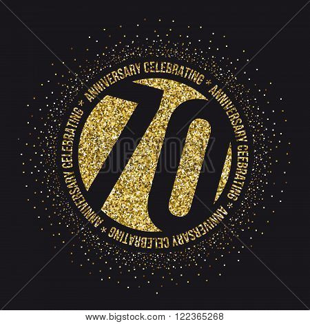 Seventy years anniversary celebration logotype. 70th anniversary logo.