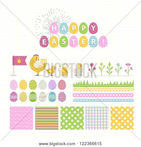 Happy Easter vector Set.Vector collection for easter design. Happy Easter isolated.Easter design elements.Cute  chicken, chick and other holiday elements with seamless pattern in stylish colors.