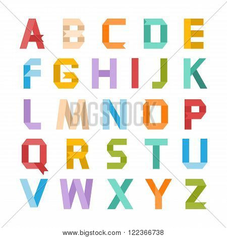 Alphabet vector .Paper ribbon alphabet.Vector Alphabet isolated.Vector Alphabet flat modern style.Vector Color Alphabet.Vector font isolated on a white background.Vector Type