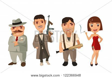 Set person Mafia. Don, capo, soldier, prostitute. Vector flat illustration on white background. Collection comics icon