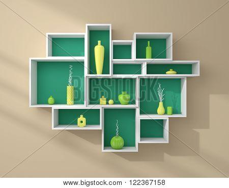 3d rendered bookshelves with colourful decorative ceramics.