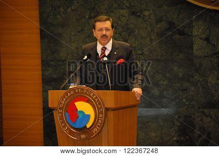 ANKARA/TURKEY-JANUARY 14: President of The Union of Chambers and Commodity Exchanges of Turkey (TOBB) M.Rifat Hisarciklioglu at the General Assembly Hall. January 14, 2014-Ankara/Turkey
