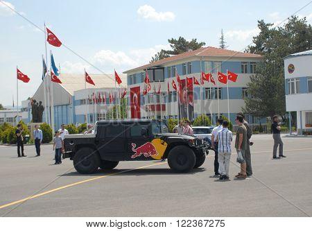 ANKARA/TURKEY-MAY 6: Red Bull presentation car at the Turkish Air Association-THK's apron during the air fest.May 6, 2012-Ankara/Turkey