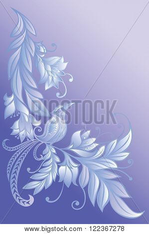 Bird on a branch.Flowers. Natural background.engraving on glass