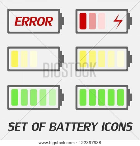 Battery charging Icon - vector illustration. The battery icons with a various level of charge. Set of color battery icons charge level