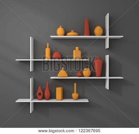 3d rendered bookshelves with simple decorative ceramics.