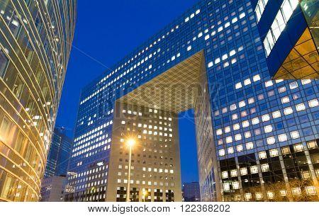 Puteaux city, France-March 17, 2016 :The modern buildings in evening , La Defense business quarter, Paris region , France.