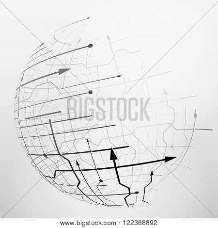 Abstract spherical mesh of geometric lines. Globe grid surface with arrows and dots. Qualitative vector illustration for digital industry hi-tech science engineering computer systems etc. It has transparency blending modes gradients