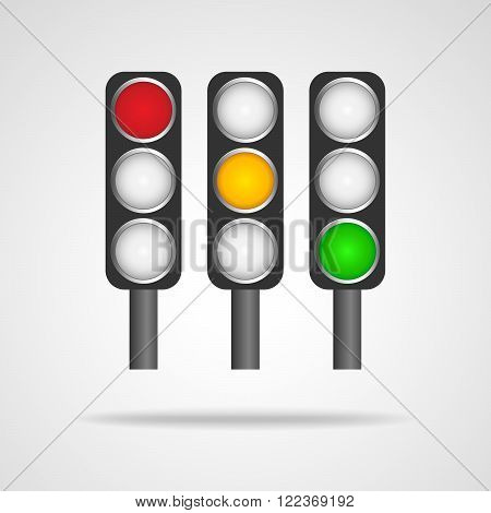 Traffic lights symbol on white background. Three urban traffic lights - vector illustration. Set of traffic lights isolated.