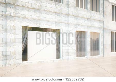 Exterior storefront with blank billboard mock up 3D Render