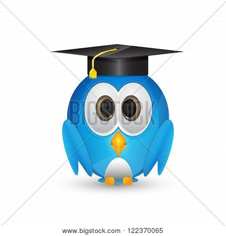 cartoon blue bird standing up with graduatin cap