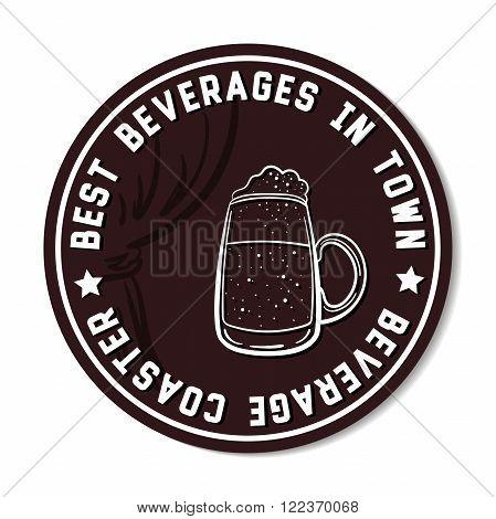 Round beverage coaster isolated on white background. Vector illustration