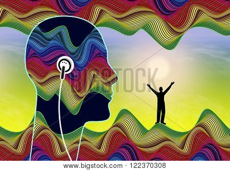 Subliminal Audio Messages. Person listening to inaudible stimuli that lie below the conscious awareness to boost