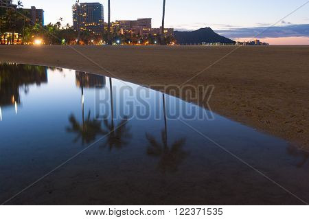 Waikiki Beach with palm trees and water reflections