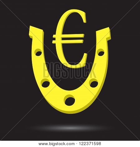 Golden horseshoe with symbol gold euro. Euro horseshoe golden euro gold sign euro currency metal euro lucky fortune money. Vector abstract flat design illustration