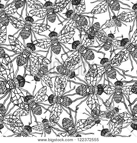 Seamless pattern with hand-drawn fly insects. Black and white monochrome insect texture. Fly vector coloring dense pattern ornament.