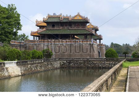 HUE, VIETNAM - JANUARY 08, 2016: Gate in the Imperial Forbidden Purple city, side view. Attraction of the City of Hue