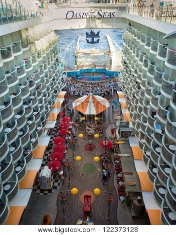 FT LAUDERDALE,  FL - JAN.17 2013: Royal Caribbean's ship Oasis of the Seas features interior cabins overlooking the Boardwalk and Aqua Theater.